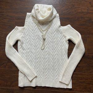 White Turtle Neck Cold Shoulder Sweater